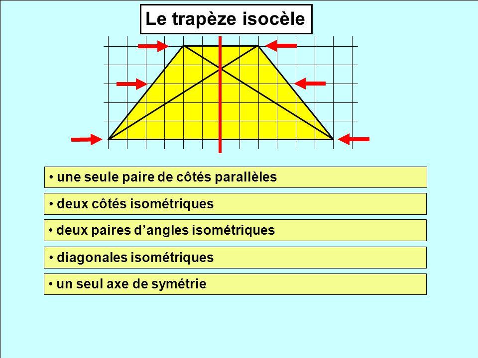 Le trapèze isocèle une seule paire de côtés parallèles