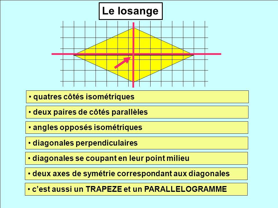Le losange quatres côtés isométriques deux paires de côtés parallèles