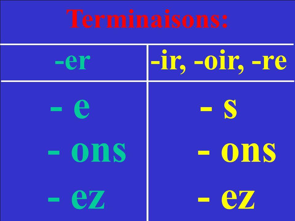Terminaisons: -er -ir, -oir, -re - e - s - ons - ez - ons - ez 2