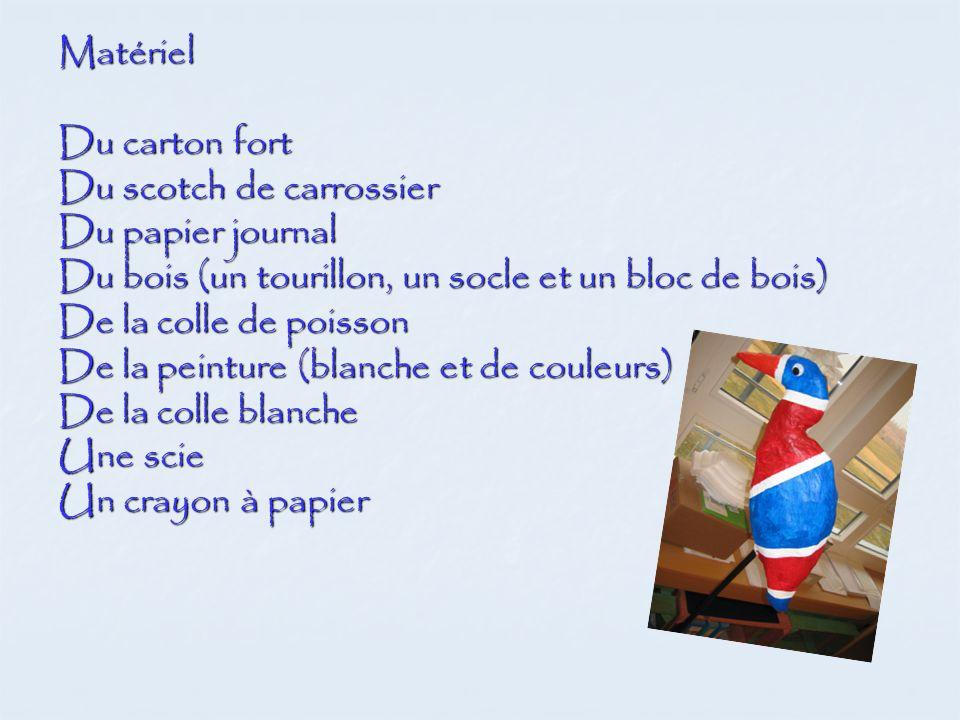 Matériel Du carton fort. Du scotch de carrossier. Du papier journal. Du bois (un tourillon, un socle et un bloc de bois)