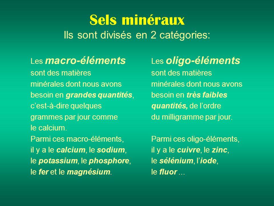 Sels minéraux Ils sont divisés en 2 catégories: