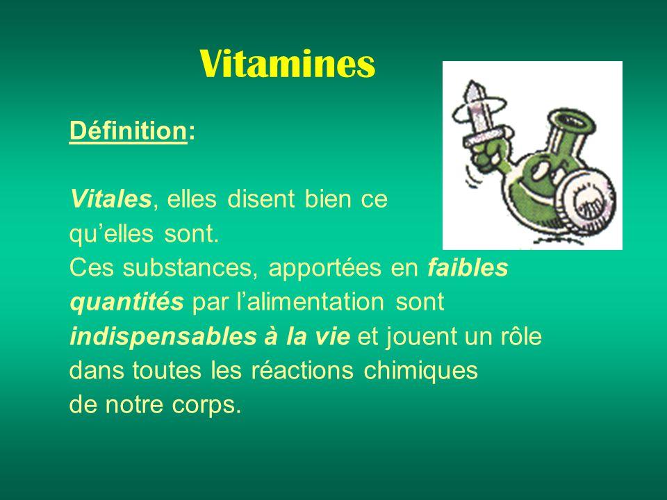 Vitamines Définition: Vitales, elles disent bien ce qu'elles sont.