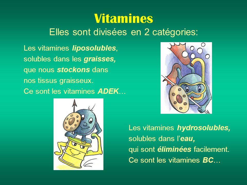 Vitamines Elles sont divisées en 2 catégories:
