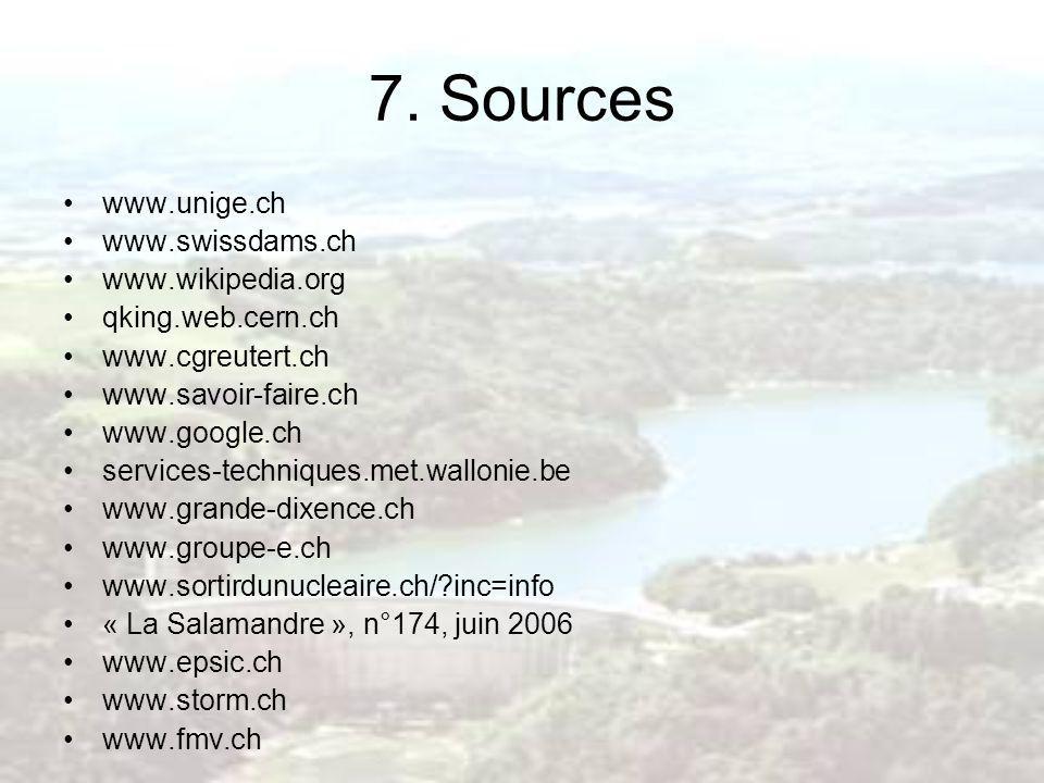 7. Sources www.unige.ch www.swissdams.ch www.wikipedia.org
