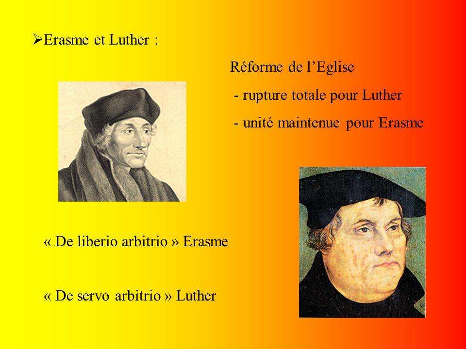 Erasme et Luther : Réforme de l'Eglise. - rupture totale pour Luther. - unité maintenue pour Erasme.