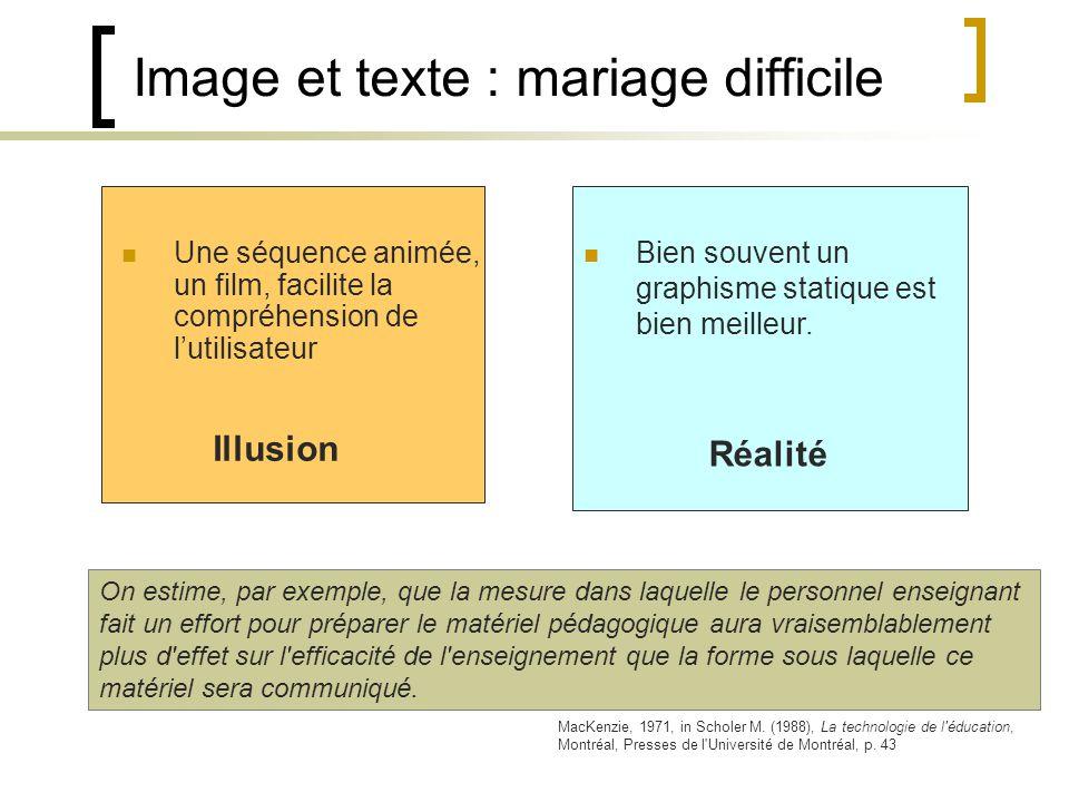 Image et texte : mariage difficile