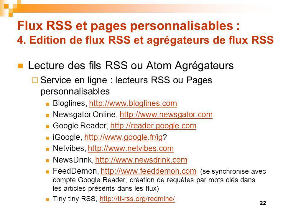 Flux RSS et pages personnalisables : 4