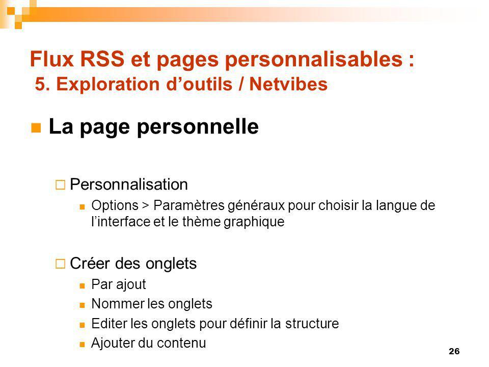 Flux RSS et pages personnalisables : 5. Exploration d'outils / Netvibes