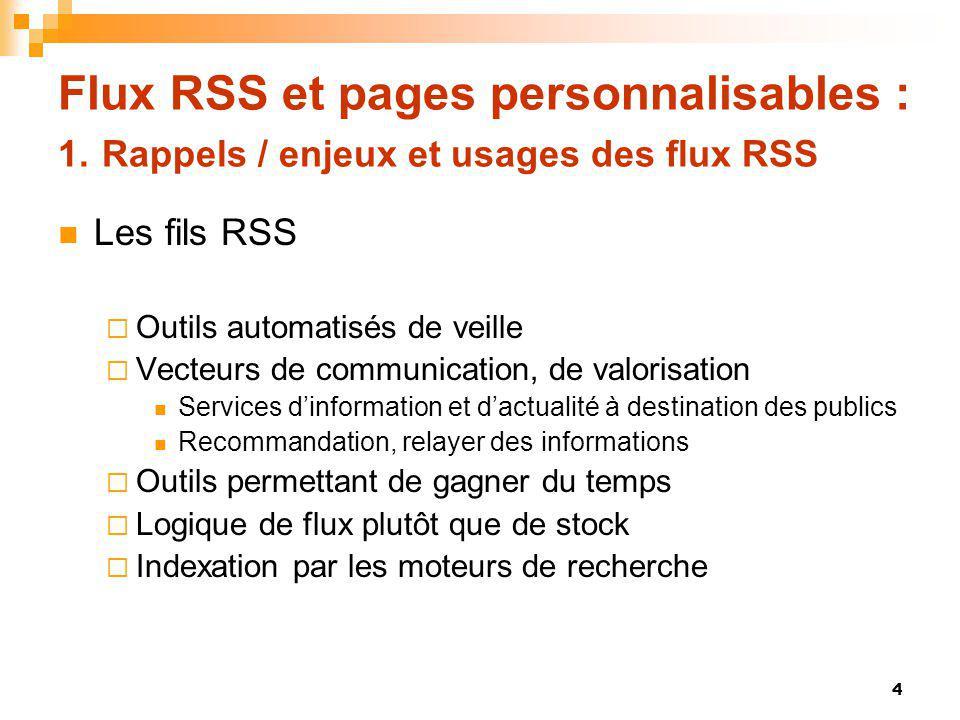 Flux RSS et pages personnalisables : 1