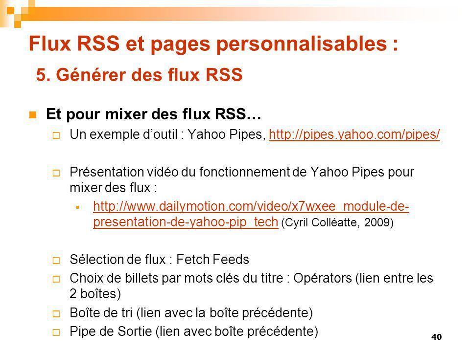 Flux RSS et pages personnalisables : 5. Générer des flux RSS