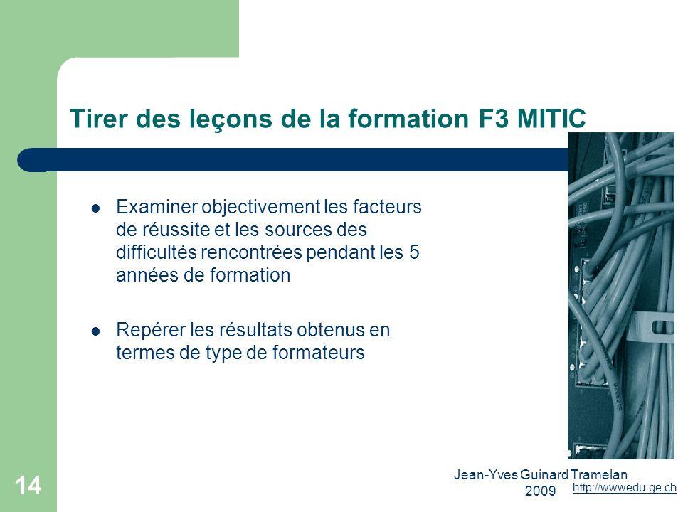 Tirer des leçons de la formation F3 MITIC