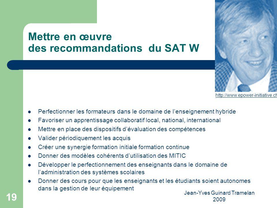 Mettre en œuvre des recommandations du SAT W