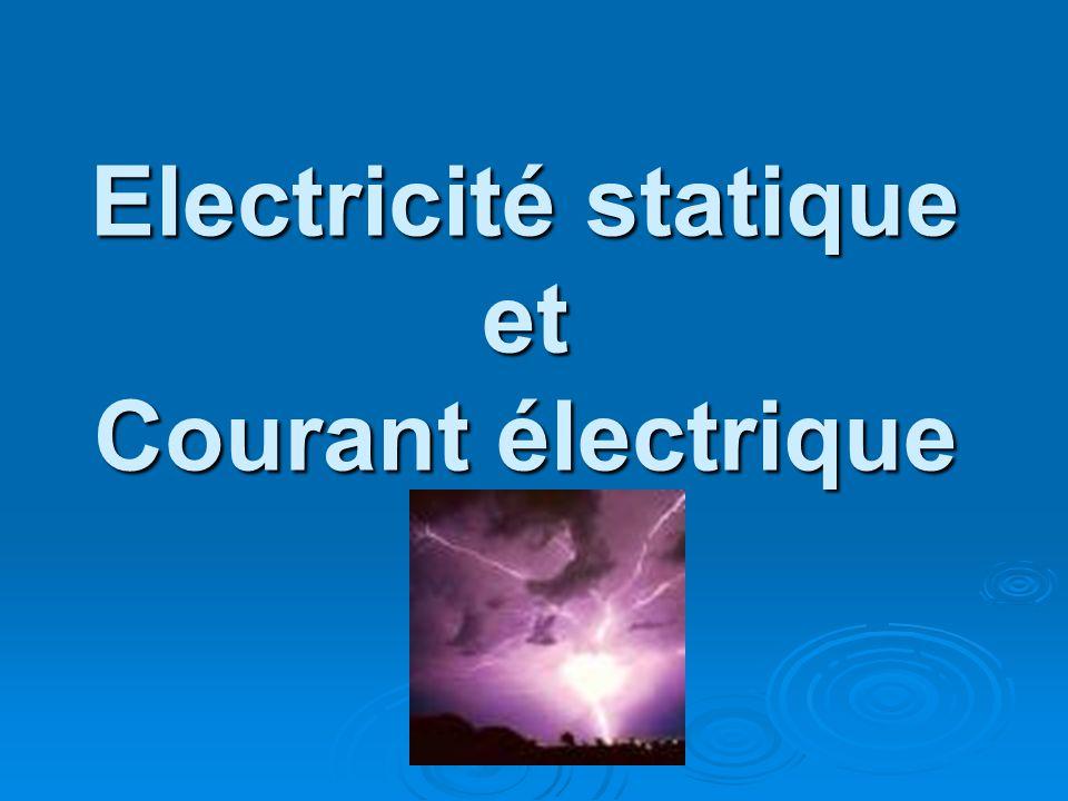 Electricité statique et Courant électrique