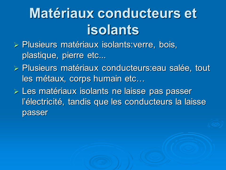 Matériaux conducteurs et isolants