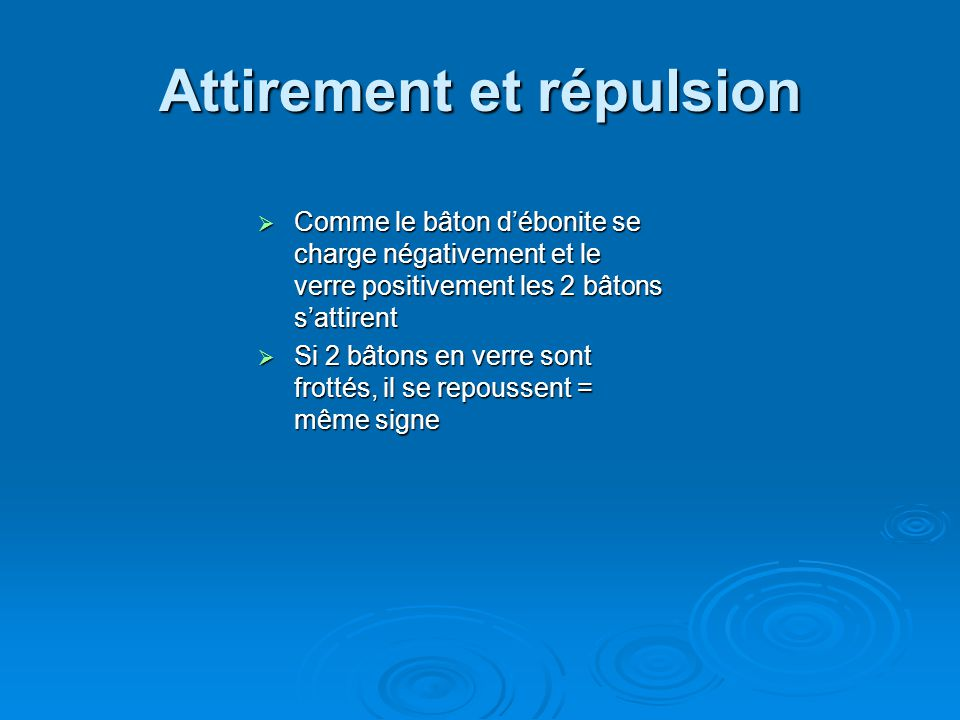Attirement et répulsion