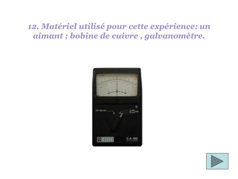 12. Matériel utilisé pour cette expérience: un aimant ; bobine de cuivre , galvanomètre.