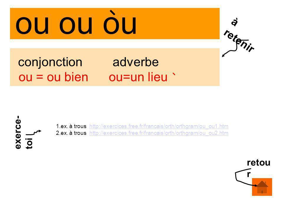 ou ou ou conjonction adverbe ou = ou bien ou=un lieu