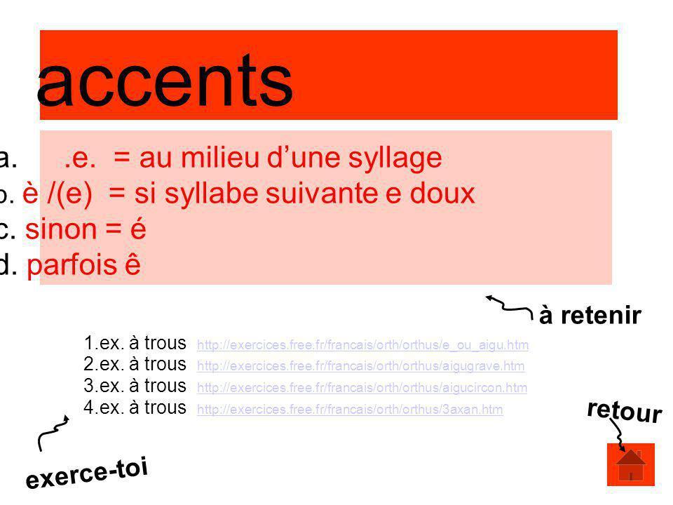 accents a. e. = au milieu d'une syllage b