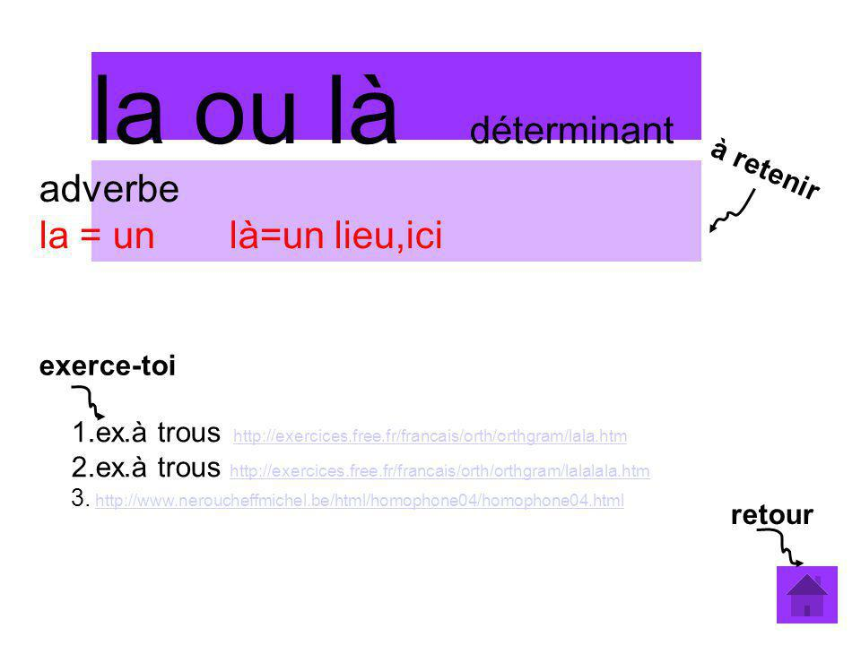 la ou là déterminant adverbe la = un là=un lieu,ici