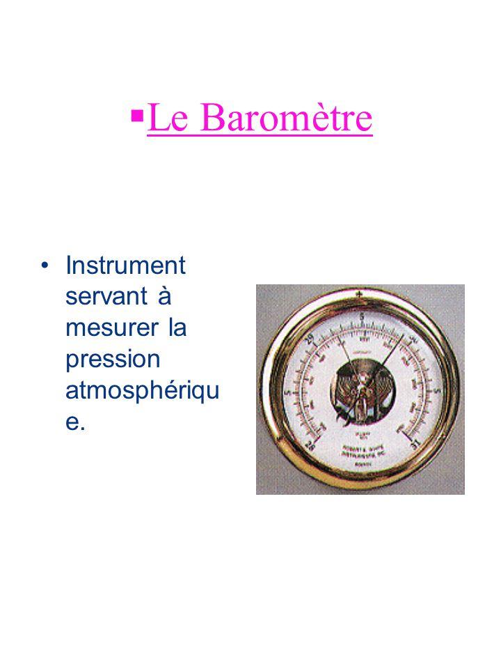 Le Baromètre Instrument servant à mesurer la pression atmosphérique.