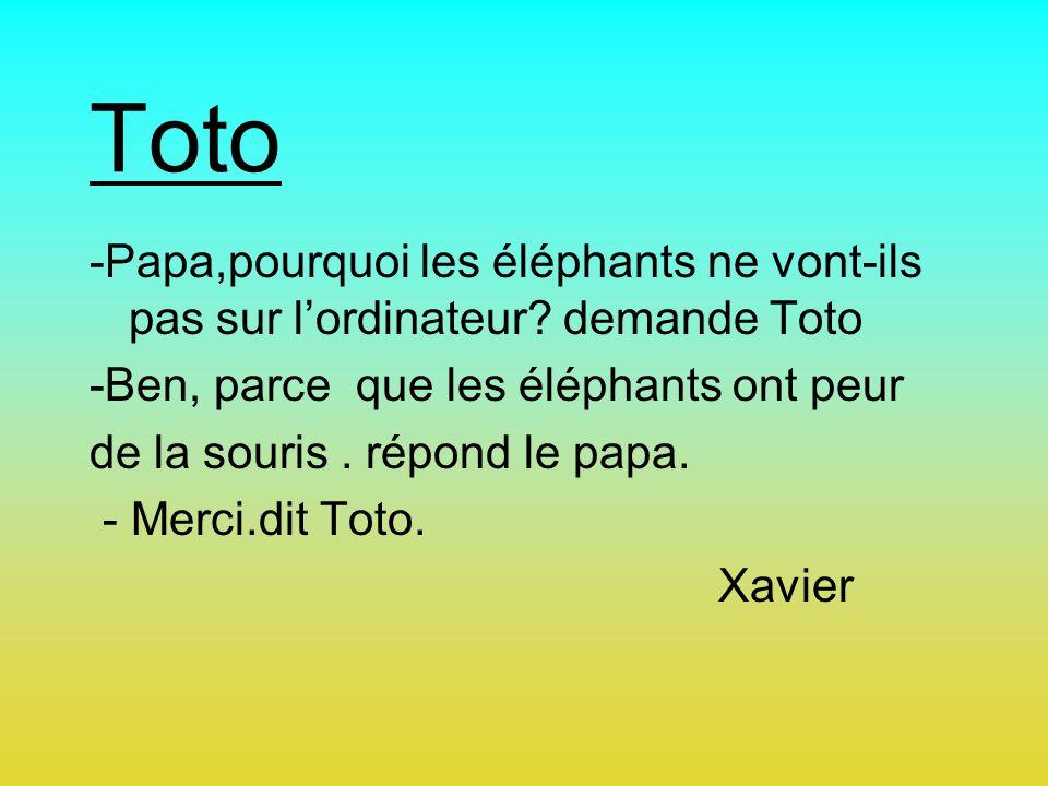 Toto -Papa,pourquoi les éléphants ne vont-ils pas sur l'ordinateur demande Toto. -Ben, parce que les éléphants ont peur.