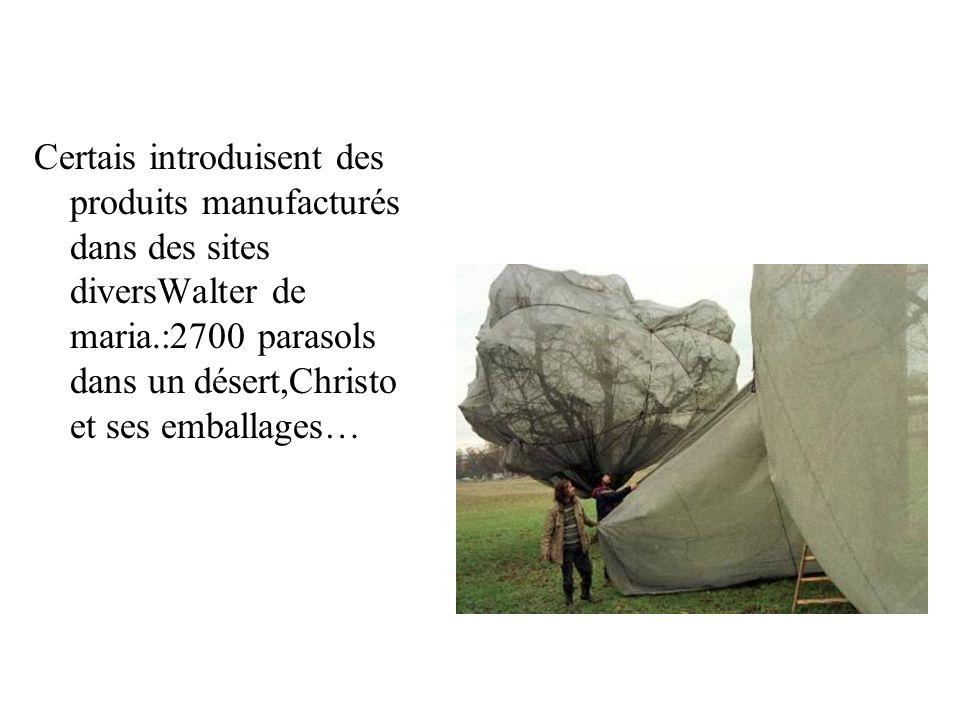 Certais introduisent des produits manufacturés dans des sites diversWalter de maria.:2700 parasols dans un désert,Christo et ses emballages…