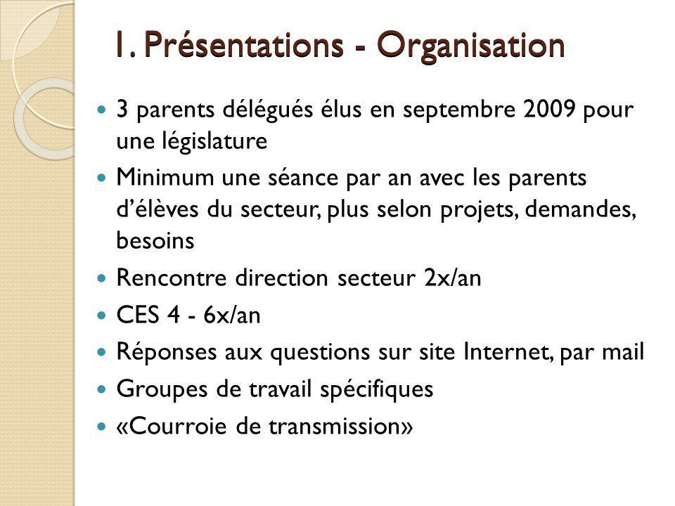 1. Présentations - Organisation