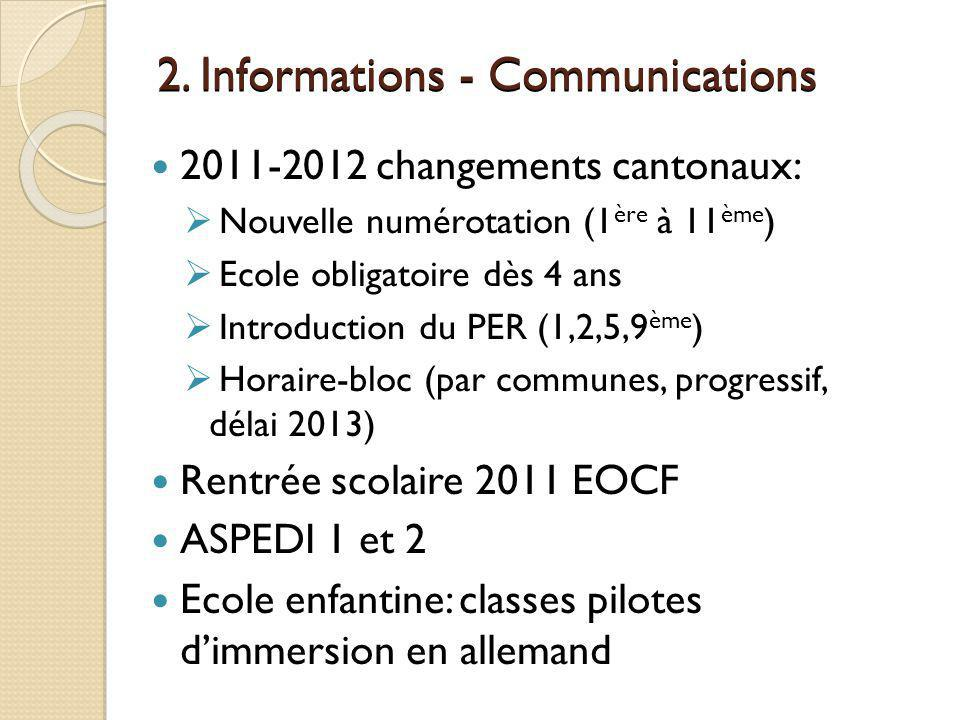2. Informations - Communications