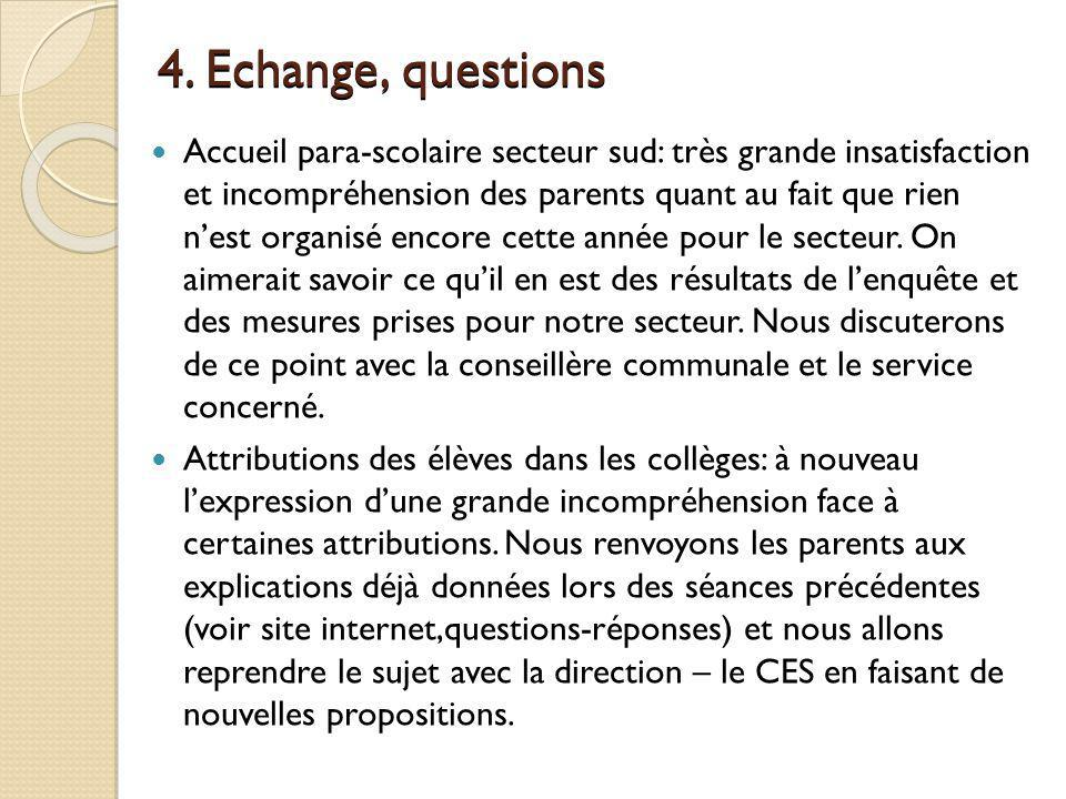 4. Echange, questions