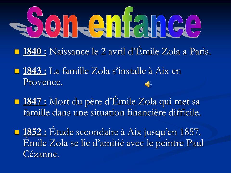 Son enfance 1840 : Naissance le 2 avril d'Émile Zola a Paris.