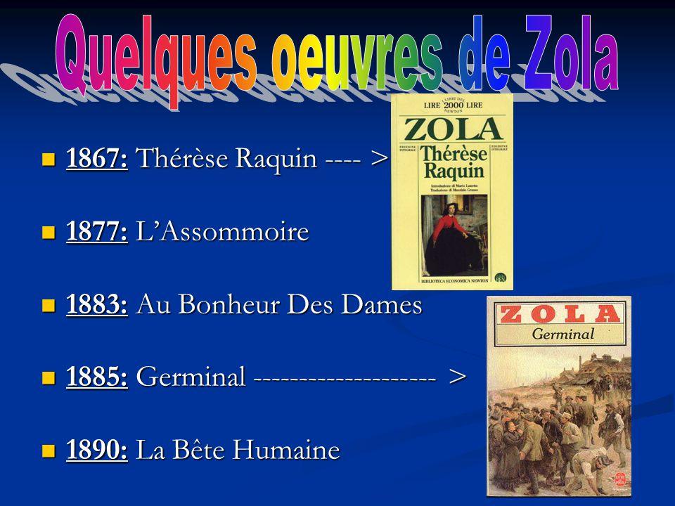 Quelques oeuvres de Zola