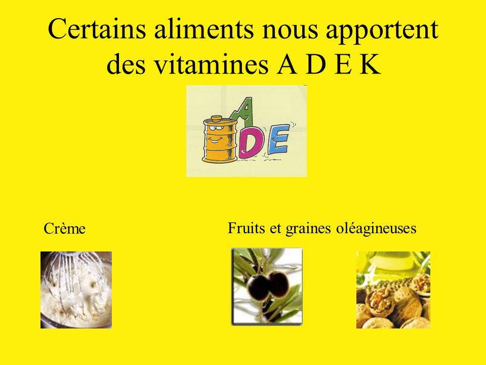 Certains aliments nous apportent des vitamines A D E K