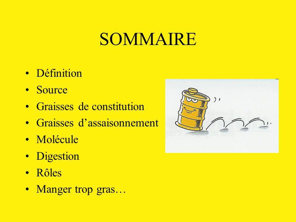 SOMMAIRE Définition Source Graisses de constitution