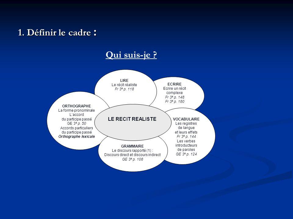 1. Définir le cadre : Qui suis-je LE RECIT REALISTE LIRE