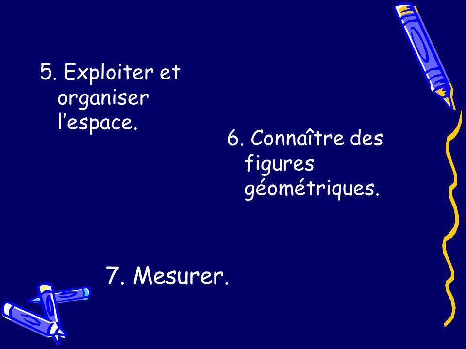7. Mesurer. 5. Exploiter et organiser l'espace.