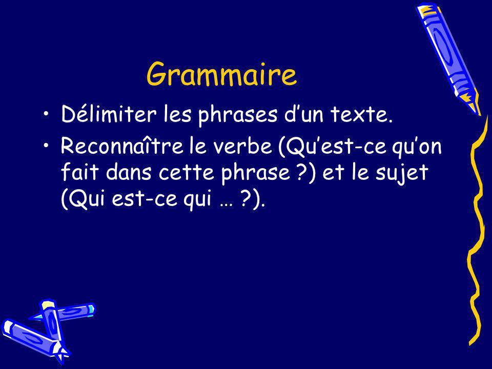 Grammaire Délimiter les phrases d'un texte.