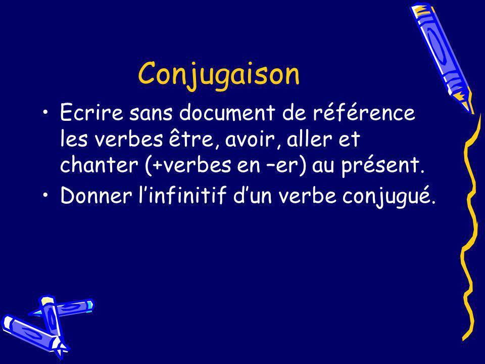Conjugaison Ecrire sans document de référence les verbes être, avoir, aller et chanter (+verbes en –er) au présent.