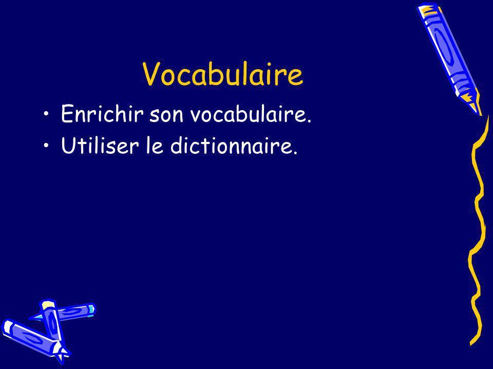 Vocabulaire Enrichir son vocabulaire. Utiliser le dictionnaire.