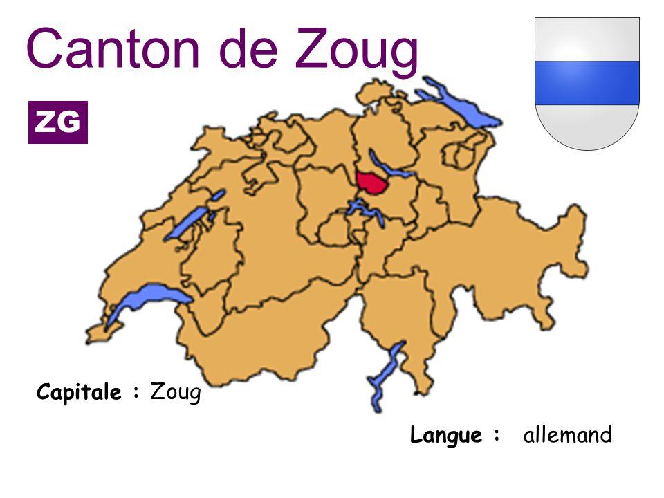 Canton de Zoug ZG Capitale : Zoug Langue : allemand