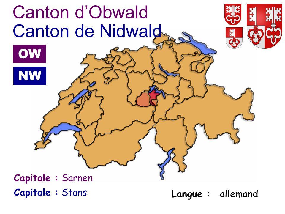 Canton d'Obwald Canton de Nidwald OW NW Capitale : Sarnen Capitale :