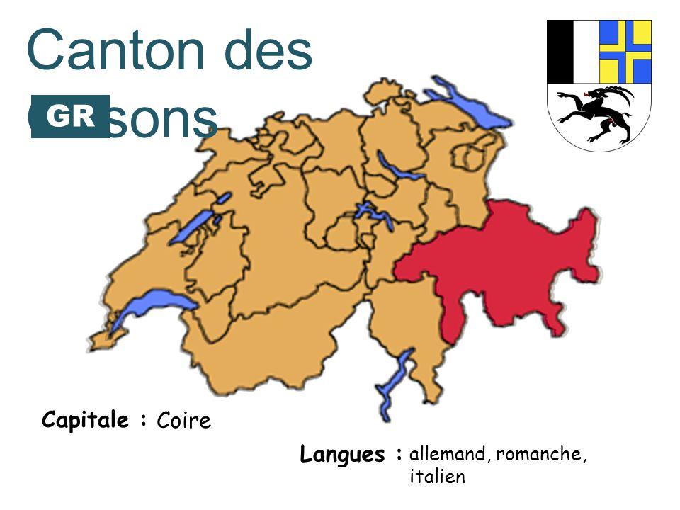 Canton des Grisons GR Capitale : Coire Langues :