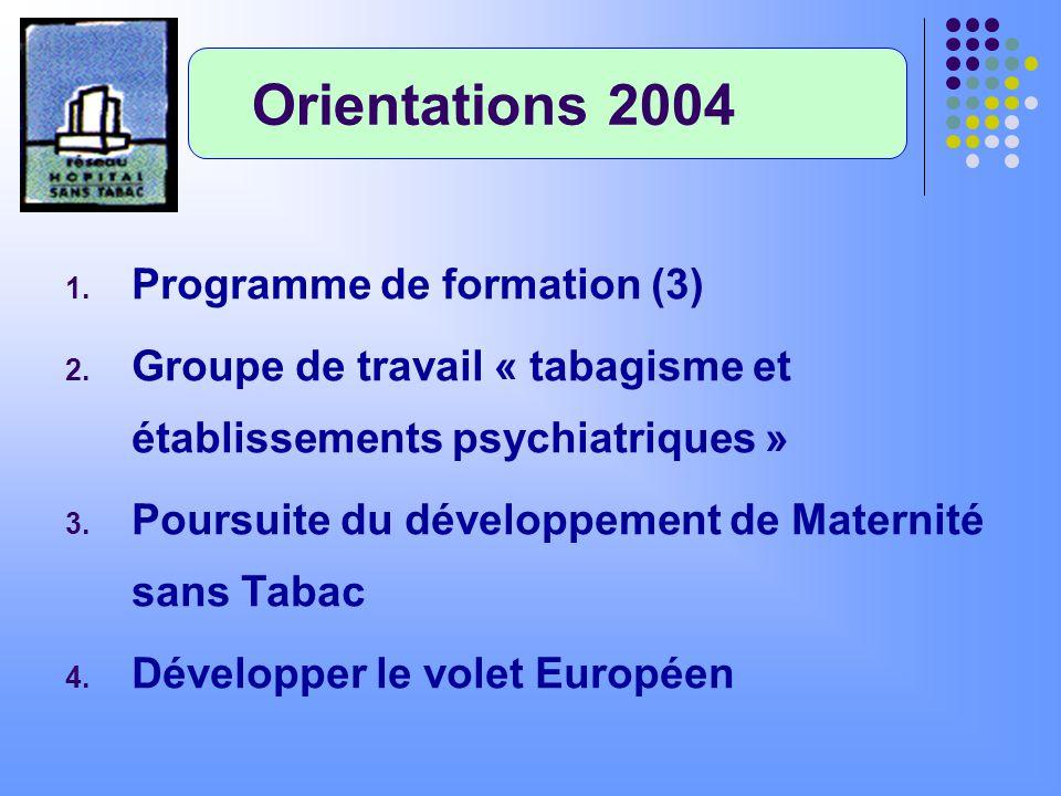 Orientations 2004 Programme de formation (3)