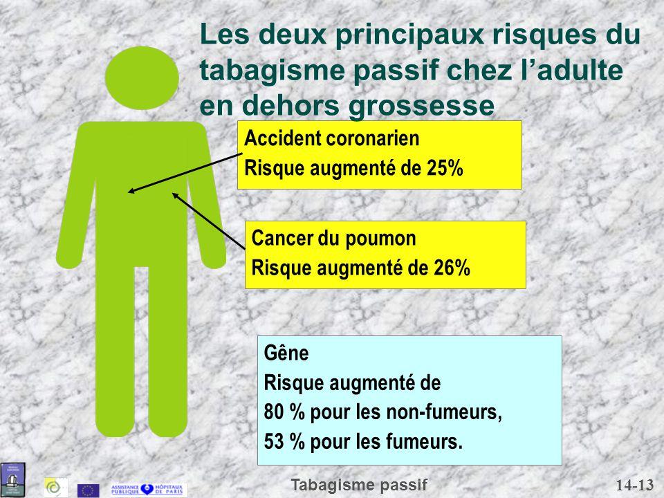 Les deux principaux risques du tabagisme passif chez l'adulte