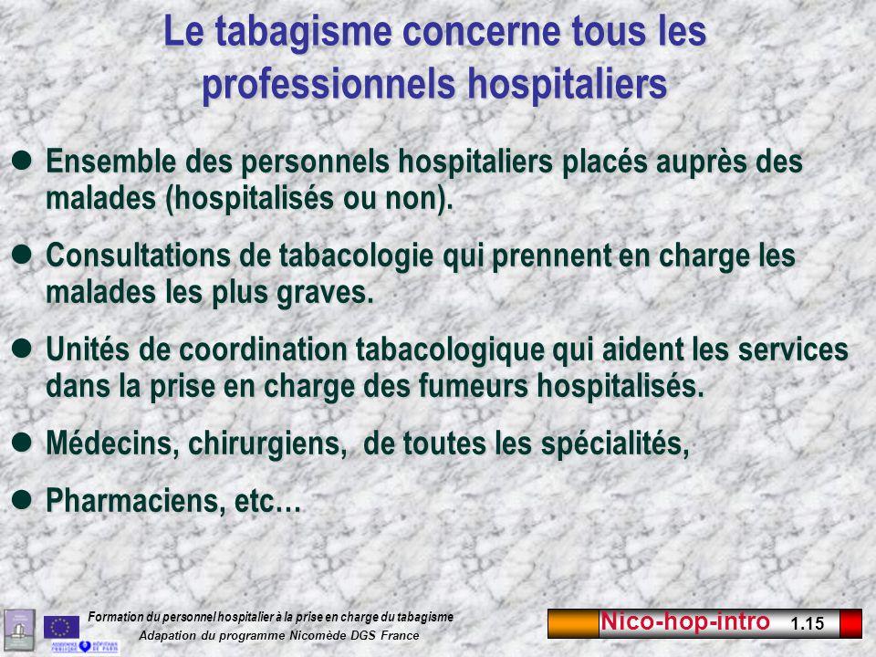 Le tabagisme concerne tous les professionnels hospitaliers