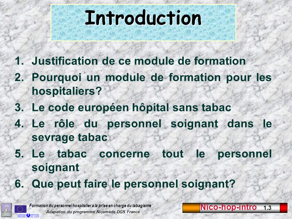 Introduction Justification de ce module de formation