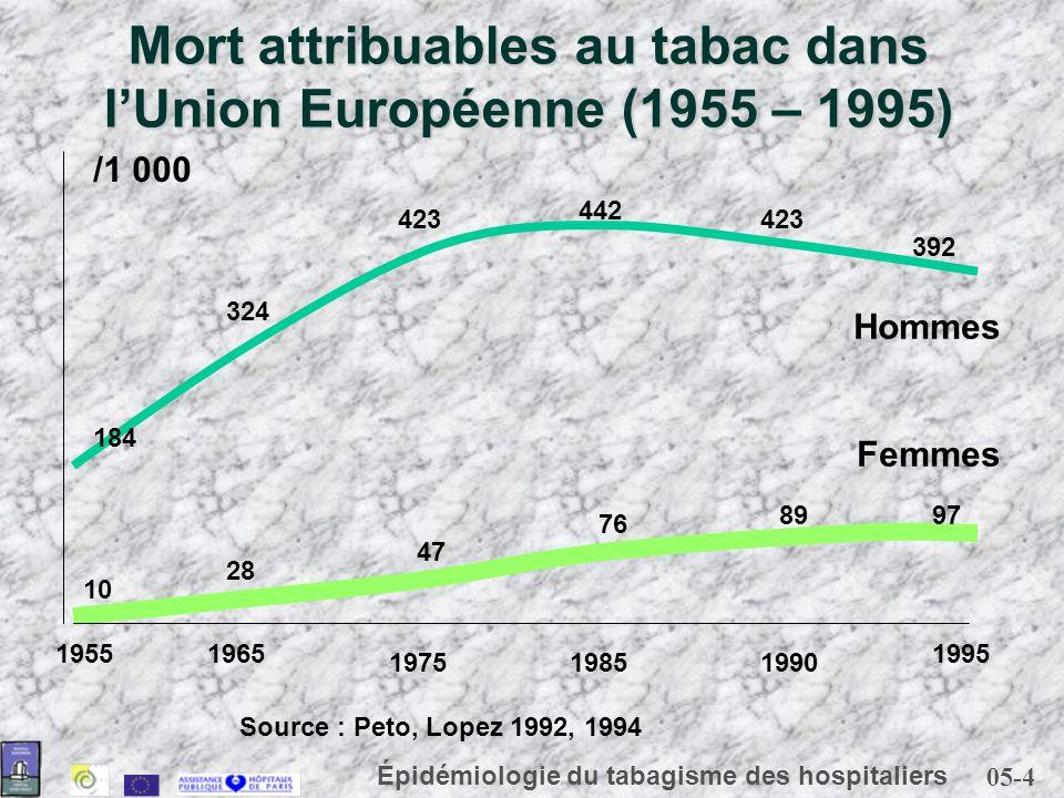 Mort attribuables au tabac dans l'Union Européenne (1955 – 1995)