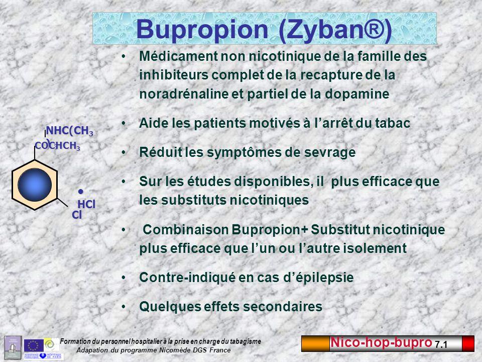 Bupropion (Zyban®) Médicament non nicotinique de la famille des inhibiteurs complet de la recapture de la noradrénaline et partiel de la dopamine.