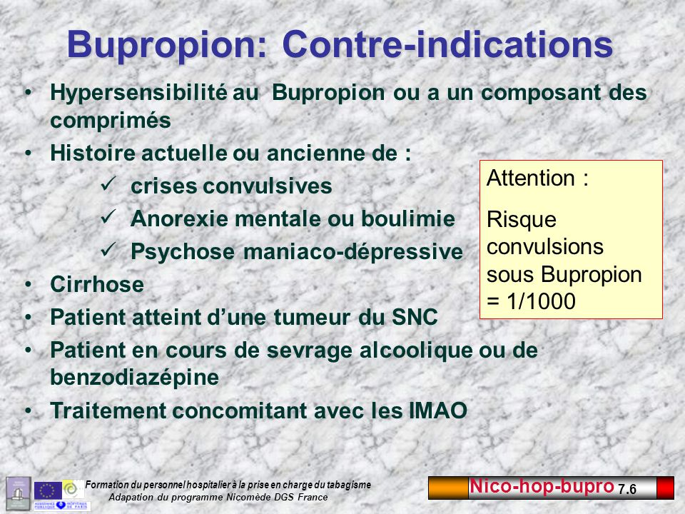 Bupropion: Contre-indications