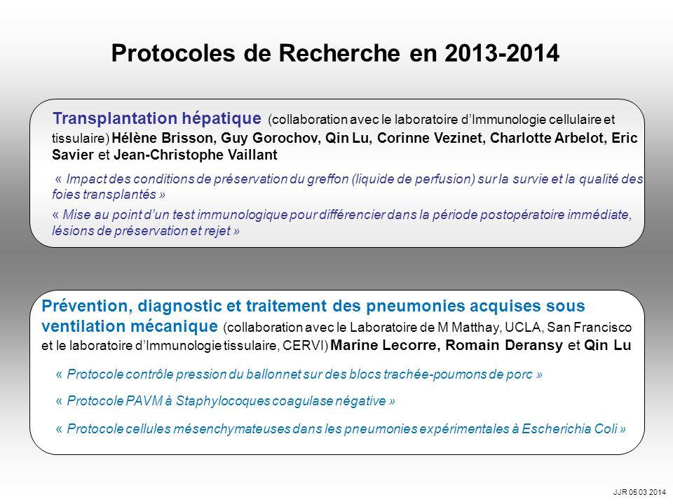 Protocoles de Recherche en 2013-2014