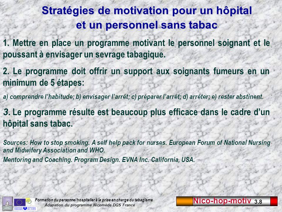 Stratégies de motivation pour un hôpital et un personnel sans tabac